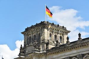 German flag on Bundestag in Berlin